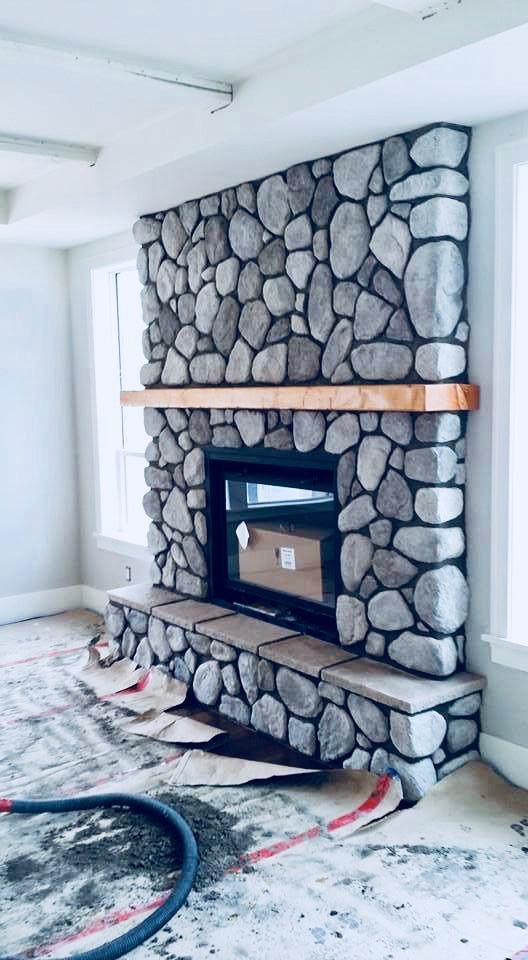 River Rock Fireplace, Lennox Masonry, Victoria BC