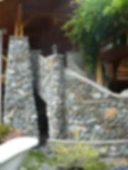 Concrete staircase faced with blast rock veneer, Lennox Masonry, Victoria, BC