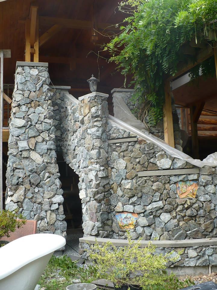 Blast Rock Staircase, Lennox Masonry, Victoria, BC, Stone Mason