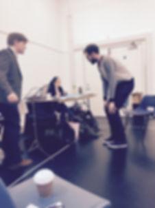 Noah Mosley, Dominic Bowe, Zara Fyfe, rehearsal