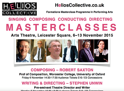 Helios Collective, Formations 2015, Robert Saxton, Stephen Unwin, David Parry, Kasper Holten, Stephen Barlow, Bettina Bartz