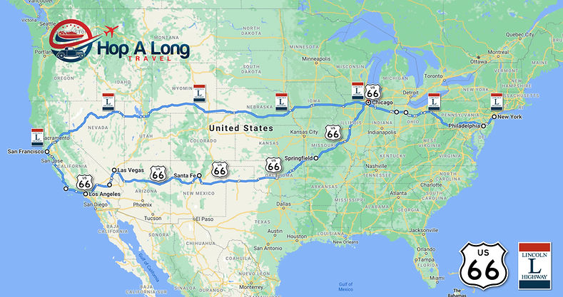 Lincoln Hwy og Route 66 Hopalong Travel.