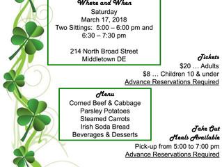 St. Patrick's Day Dinner