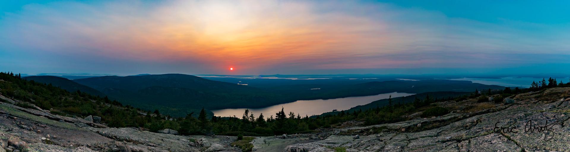 Panoramic Sunset on Cadillac Mtn, Acadia