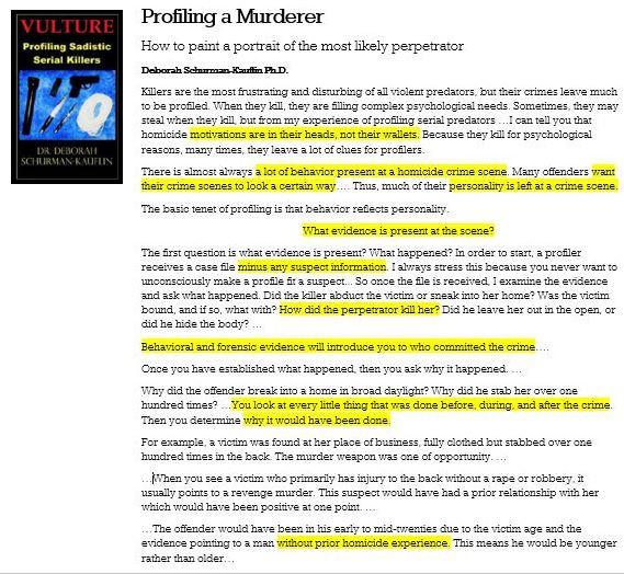 Profiling 101 by Dr Deborah