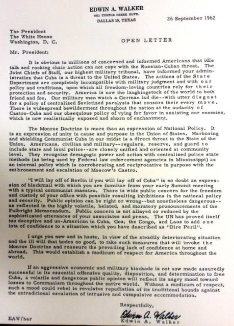 Walker to JFK 1962 letter