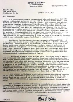 Walker to JFK 1962 letter