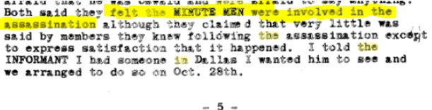 Minutemen informant says involved in JFK