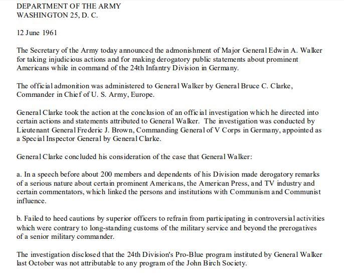 General Walker dismissed by JFK