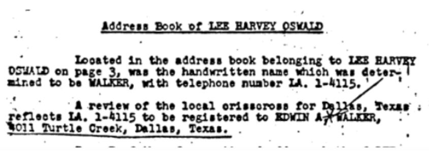 Walker in Oswald's phone book