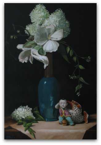 Hydrangeas Fruit and Foo Dog
