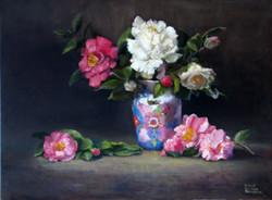 Camellias With Oriental Vase