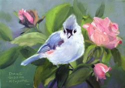 Tufted Titmouse With Roses