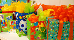 Colorful gift packages in party room at Indian Lanes