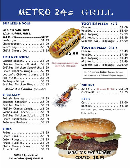 Menu for Metro 24 Grill page 1