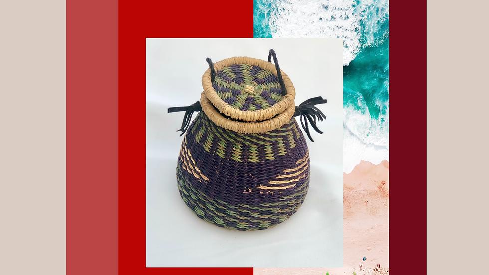 Olive/Navy/Natural Geometric Mini Bag