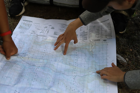 Student Varvara doing map briefing in Patagonia