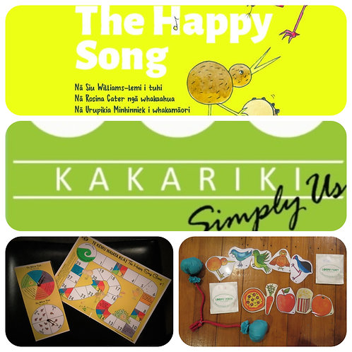 """Happy Song"" Book + Game + ""Kākāriki"" CD + Packs + Poi"