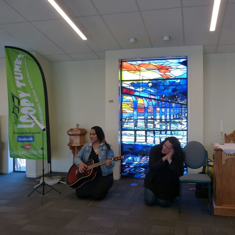 """Moe, Moe Tetipea"" at the opening of the Chapel of the Waves, Christchurch, 2019"