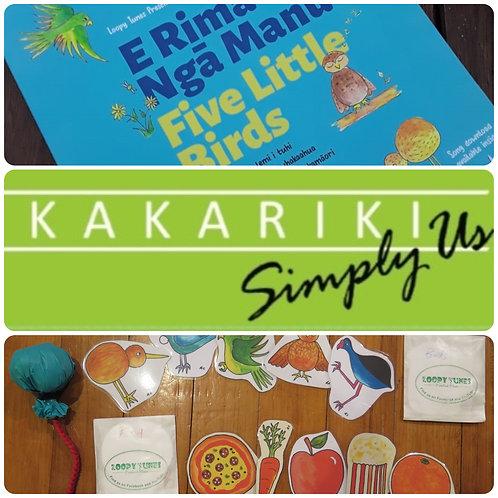 """Five Little Birds"" Book + ""Kākāriki"" CD + Packs + Poi"
