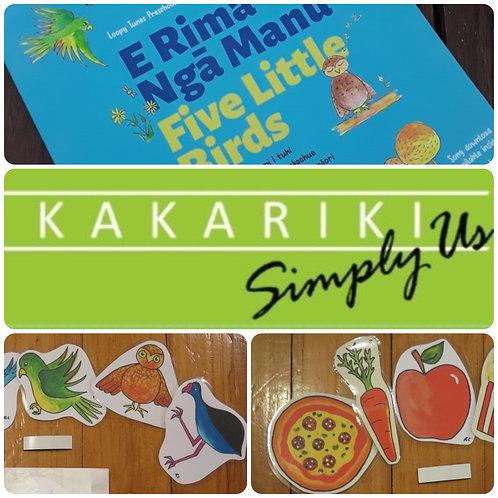 """Five Little Birds"" Book + ""Kākāriki"" CD + Food and Bird Packs"