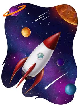 Rocketship in Space