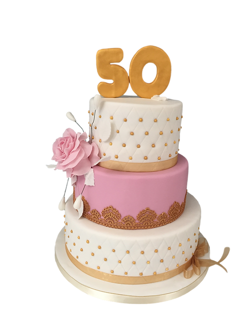 Pink and gold tired cake