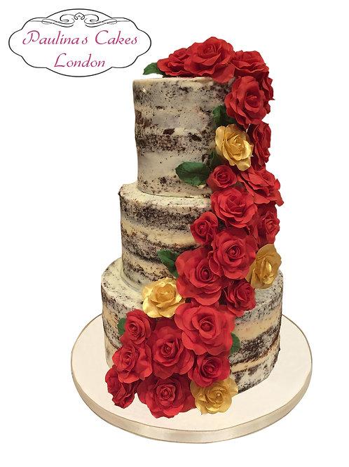 Rose Cascade, Semi Naked Cake