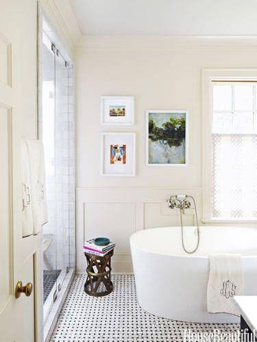 Simple walls, bold tile; small bathroom