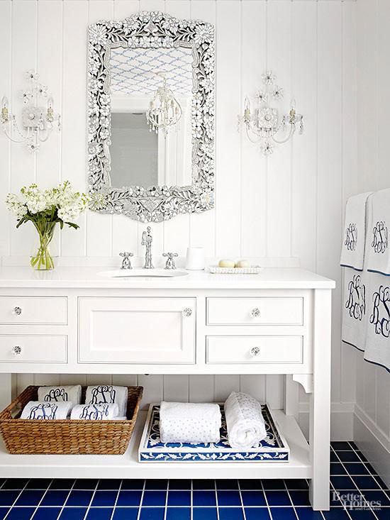 bathroom vanity with mirror and fixtures