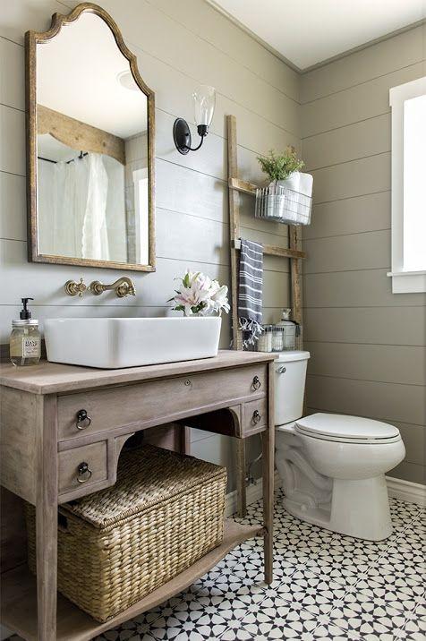 small bathroom, wood vanity