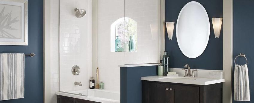 Bathroom, shower, sink, faucet, vanity, fixtures