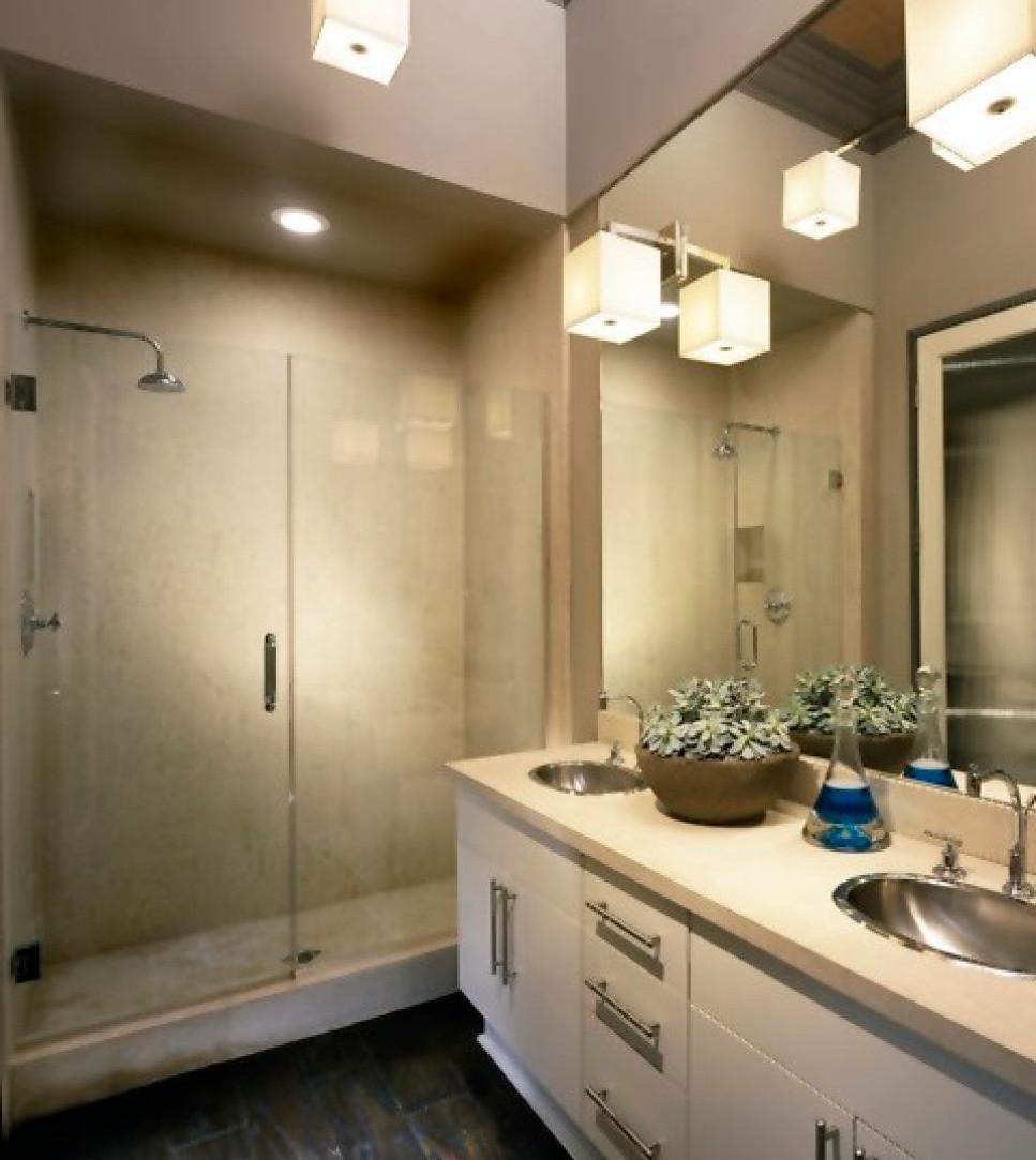 Bathroom, shower, vanity and light fixtures
