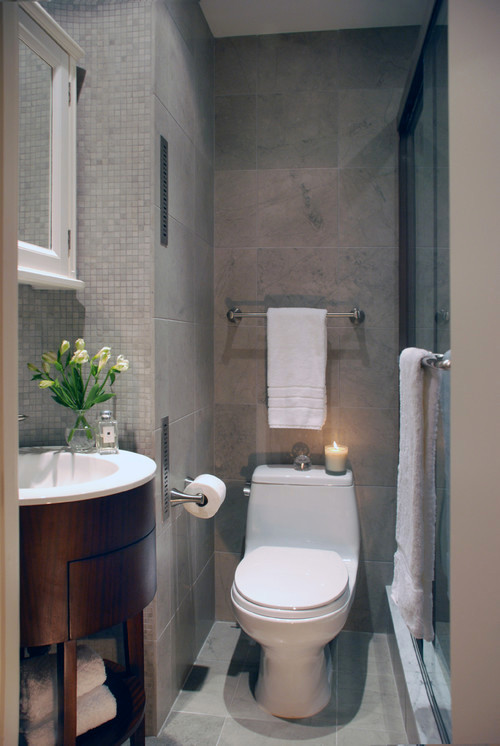 small bathroom, vanity with rounded corners