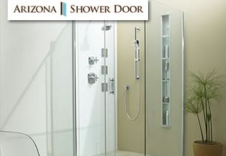 shower door and shower with faucets and fixtures