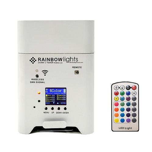 SMART 2 TOWER, RGBWA+UV, 108W,  battery powered, Wireless DMX, remote, WHITE