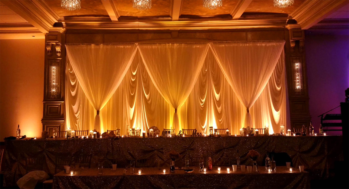 Camelot Banquets wireless wedding champagne uplighting rental by Endless Entertainment