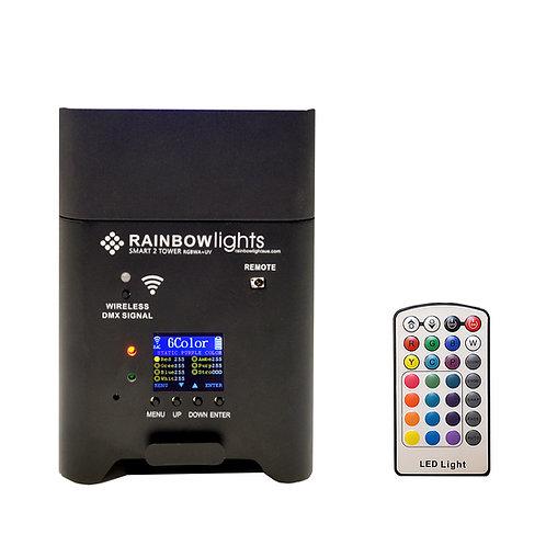 SMART 2 TOWER, RGBWA+UV, 108W.  battery powered, Wireless DMX, remote, BLACK