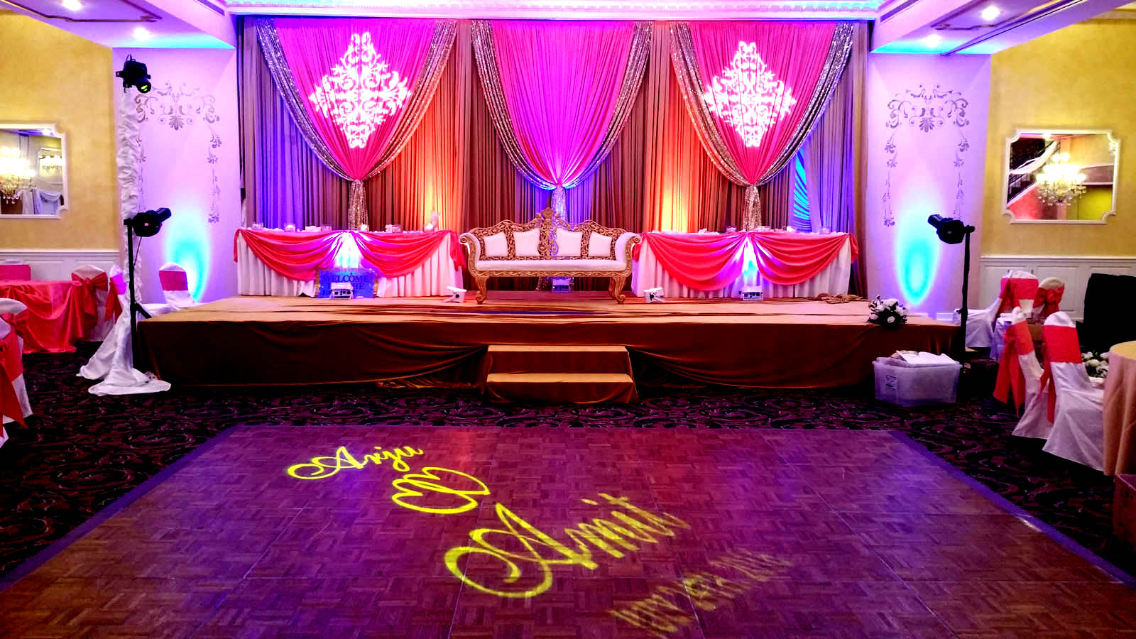 Stage Uplighting at Ashyana Banquets by Endless Entertainment