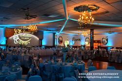 Wedding Lighting Uplighting Gobo Monogram Paradise Banquets (1)