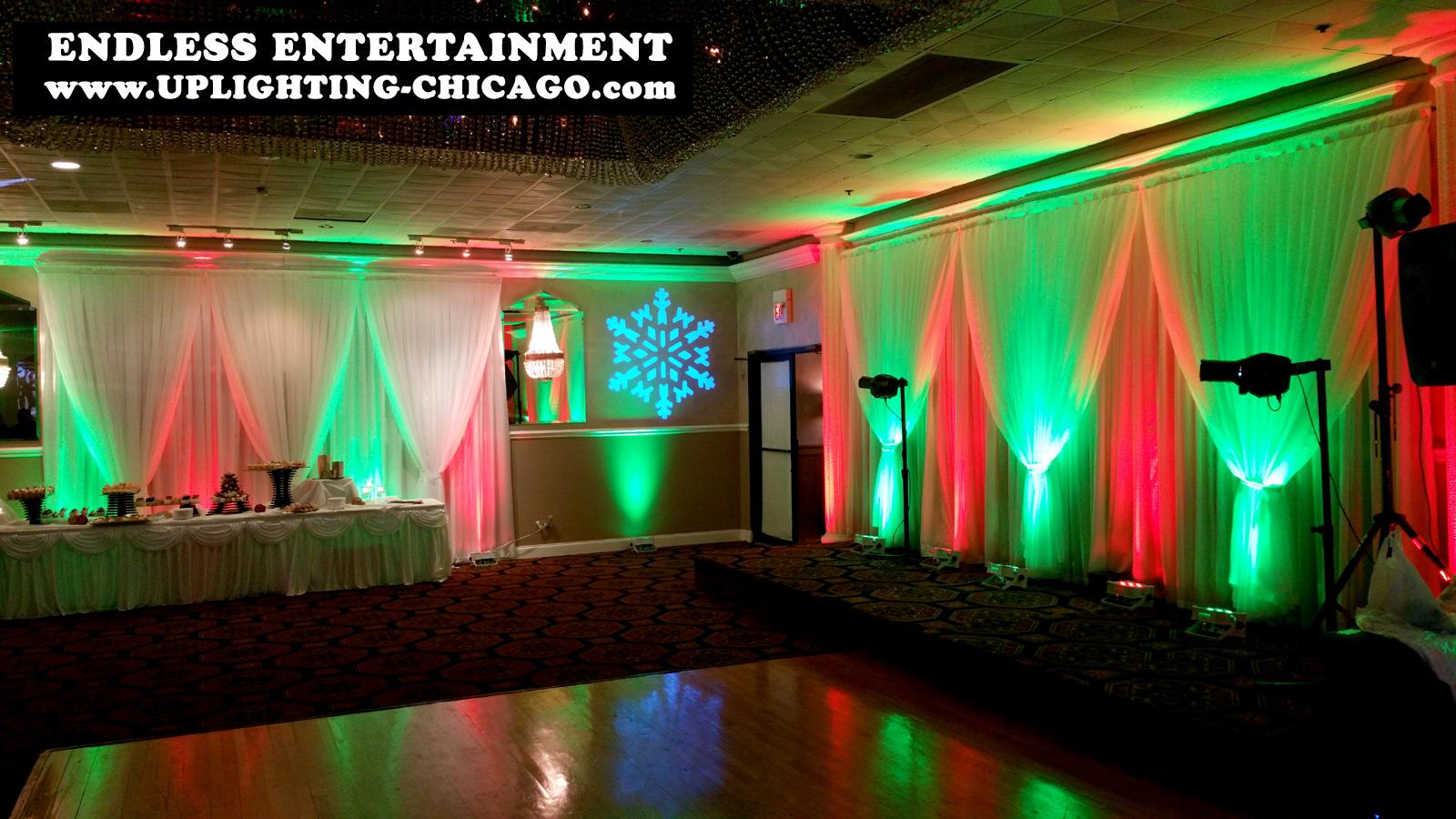 Green Christmas Uplighting rental