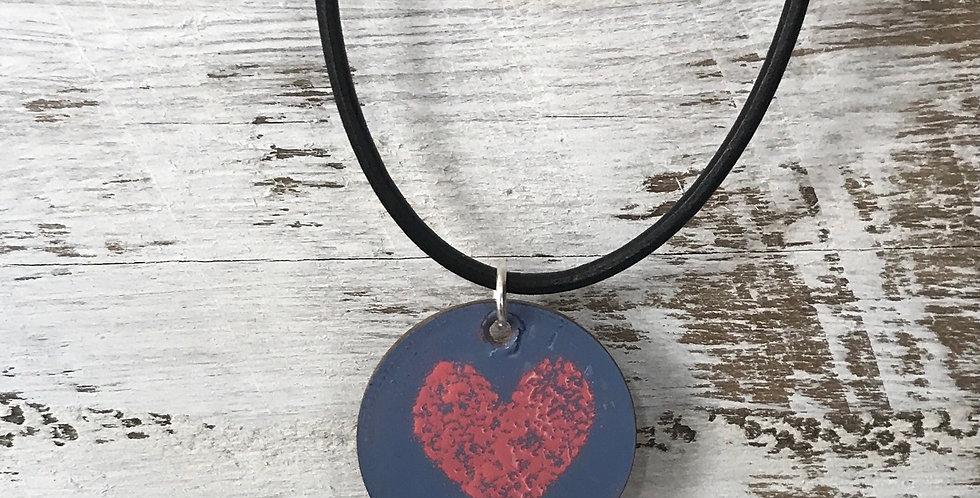Heart Enamelled Vintage Penny Pendant