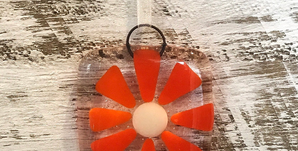 Glass Hanging with Orange Flower