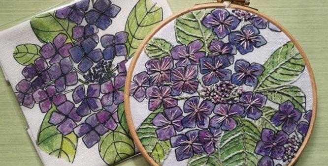 Hydrangea Embroidery Linen Panel