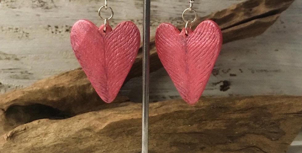 Handburnt Pink Wooden Heart Earrings