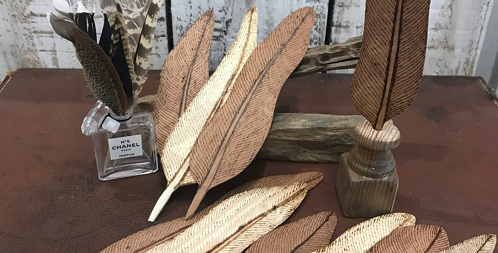 Handburnt Wooden Feather Bookmarks