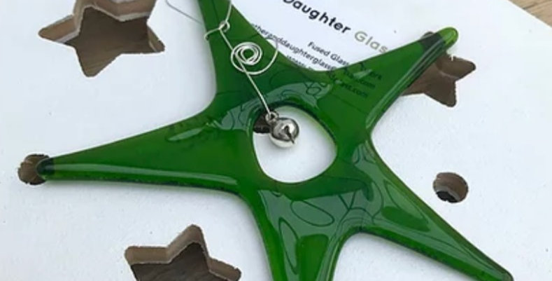 Green Glass Star with Bell
