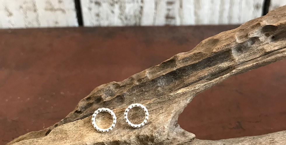 Silver Beaded Circle Studs