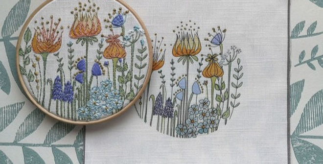 Forget me Not Embroidery Linen Panel