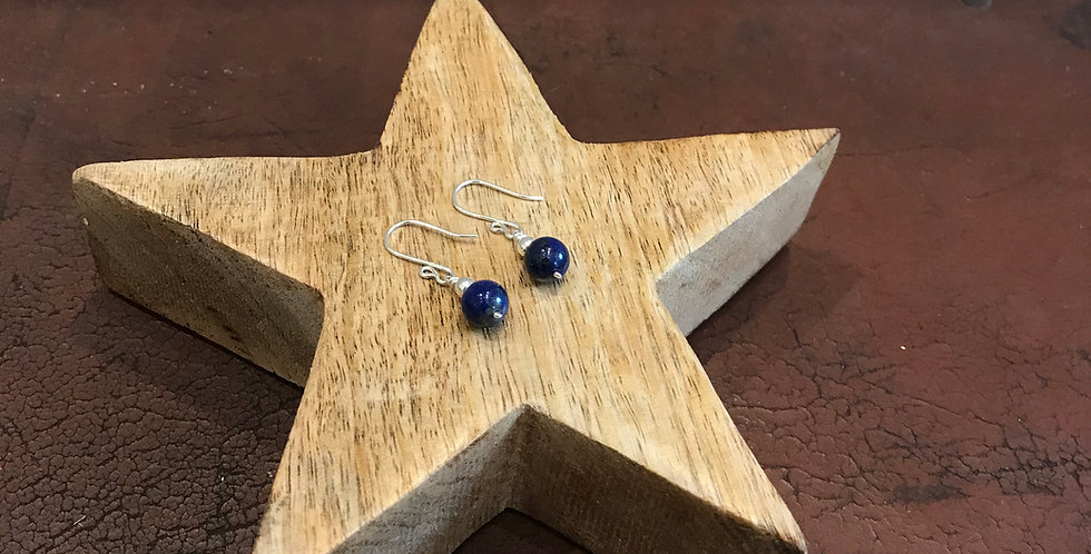 Lapis Lazuli Bead & Silver Earrings